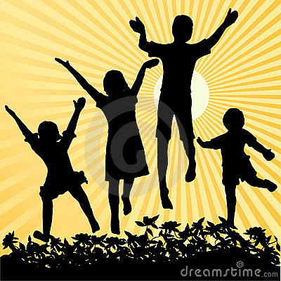 Children jumping in the sun