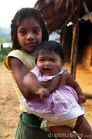 Free Children Kaapor, Native Indian Of Brazil Royalty Free Stock Photography - 10102207