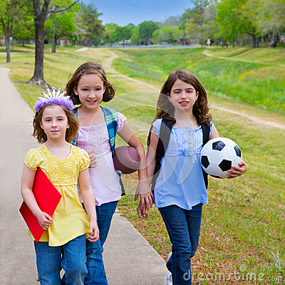 Free Children Kid Girls Walking To Schoool With Sport Balls Royalty Free Stock Photo - 31368225