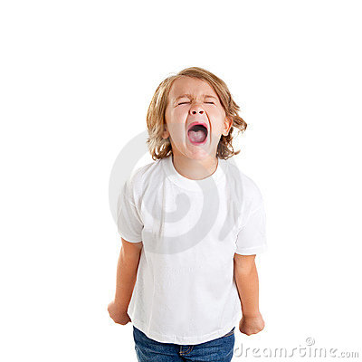 Free Children Kid Screaming Expression On White Royalty Free Stock Photography - 23309727