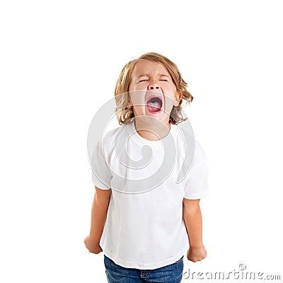 Children kid screaming expression on white