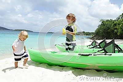 Children, kids having Fun on Tropical Beach near Ocean