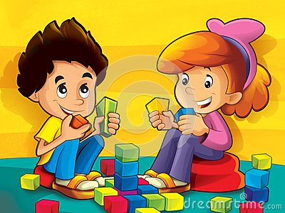 Children in the kindergarten playing blocks