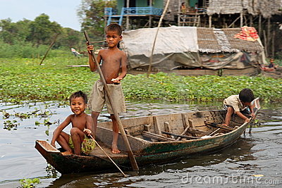 Children at Kompong Phluk, Cambodia Editorial Photography