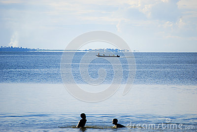 Children in Lake Victoria Editorial Photography
