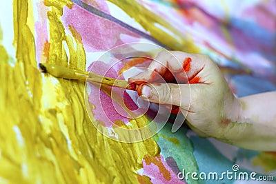 Children little artist painting hand brush