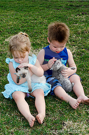 children loving thier pets