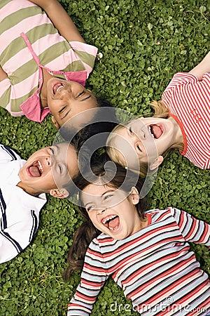 Children Lying in Clover Screaming