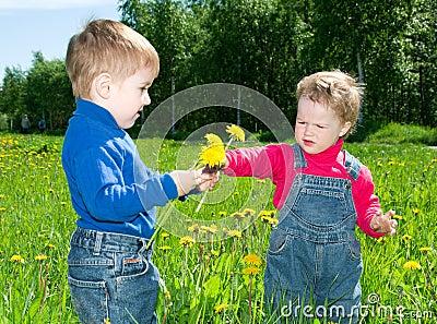 Children on meadow dandelion