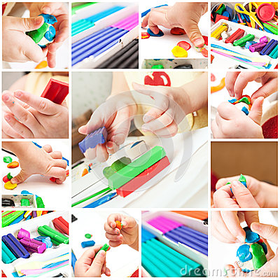 Children mold plasticine