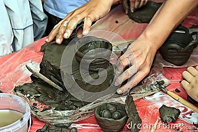 Children molding clay 2