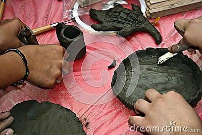 Children molding clay 3