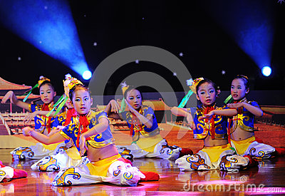 Children in the Mongolian dance performance Editorial Stock Image