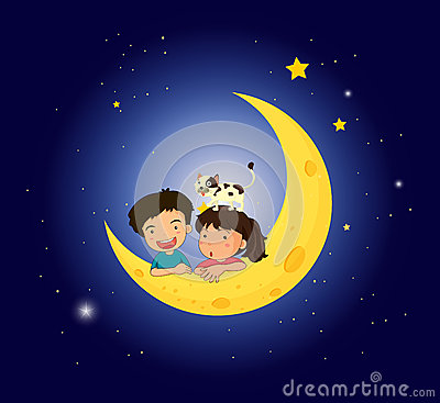 Children on the moon with a cat