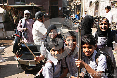 Children in Mumbai Editorial Stock Image