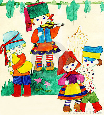 Children in national Slavic costumes