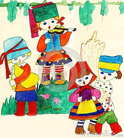 Children in national Slavic costumes