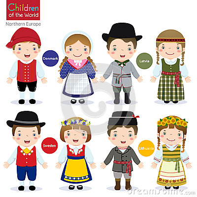 Free Children Of The World (Denmark, Latvia, Sweden And Lithuania) Stock Image - 64779541