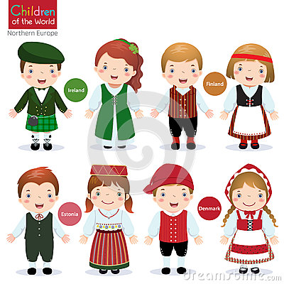 Free Children Of The World (Ireland, Finland, Estonia And Denmark) Stock Images - 64779234