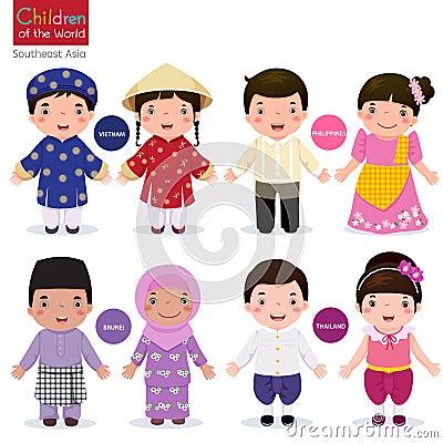 Free Children Of The World; Vietnam, Philippines, Brunei, And Thaila Royalty Free Stock Photos - 64068888