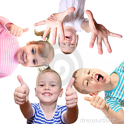 Children with ok gesture on white