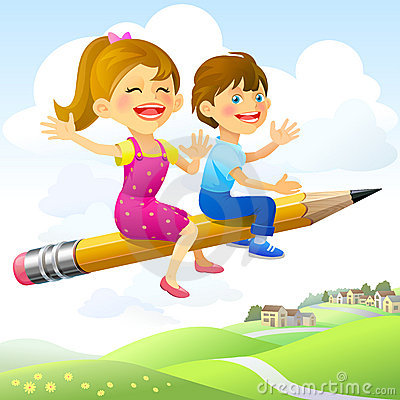Free Children On Flying-Pencil Royalty Free Stock Photography - 23030407
