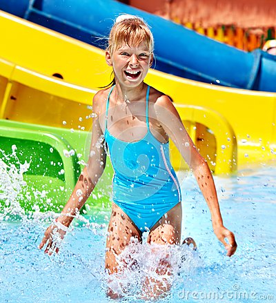 Free Children On Water Slide At Aquapark. Royalty Free Stock Photos - 30465288