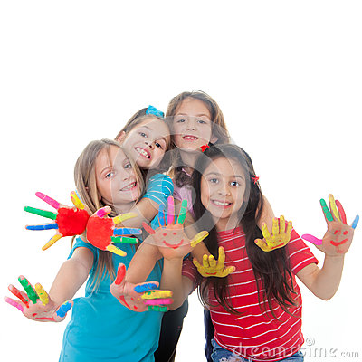 Free Children Paint Fun Stock Image - 29255041