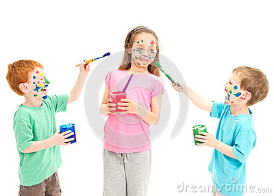 Children painting on each other