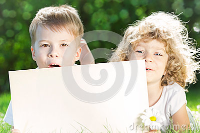 Children with paper blank