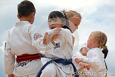 Children Performing Taekwondo Editorial Photo