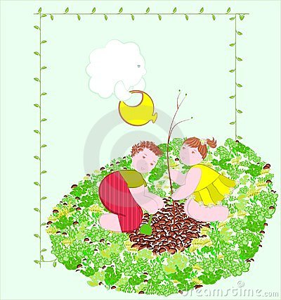 Children planting tree.