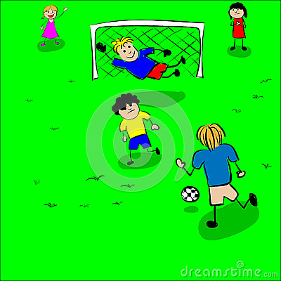 Children play football vector Vector Illustration