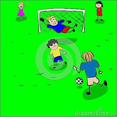 Children play football vector Vector Illustration