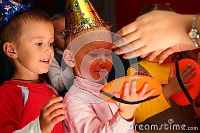 Children play on holiday in kindergarten
