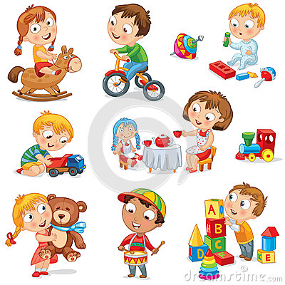 Children play with toys Vector Illustration