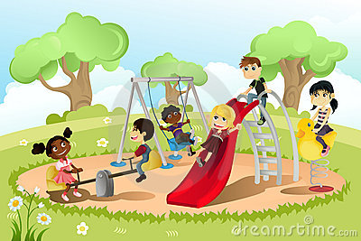 Children playing together in a playground,