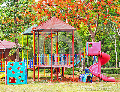 Children playground equipment at garden