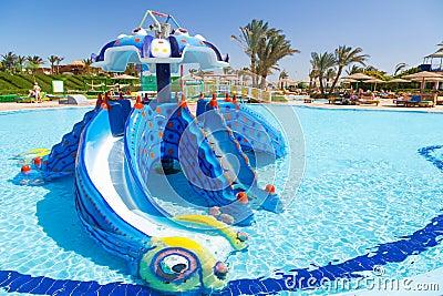 Children playground at the tropical resort
