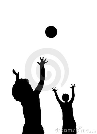 Children playing with ball silhouette
