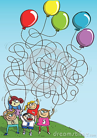 Children Playing with Balloons Maze Game