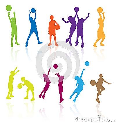 Children playing basketball.