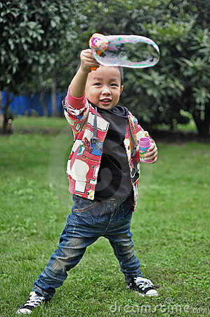 Children playing bubble