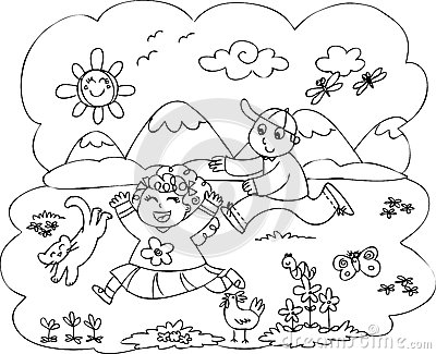 Royalty Free Stock Photography Children Playing Countryside Smiling Boy Girl Running Two Cute Animals Grass Coloring Illustration Image33412187 on Kids Park Coloring Page 2