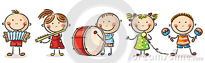 Children playing different musical instruments Vector Illustration