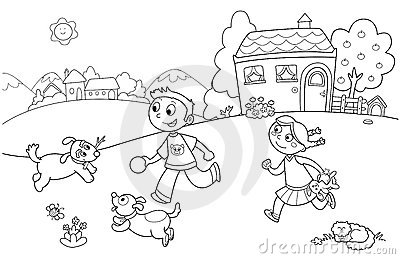 Children Playing With Dogs Stock Images - Image: 19296364