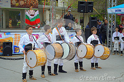 Children ensemble playing drums Editorial Stock Photo