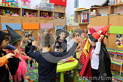 Children playing on Halloween Editorial Photo