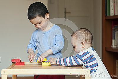 Children playing at home