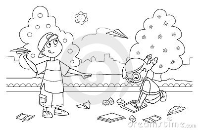 Children playing with paper airplanes